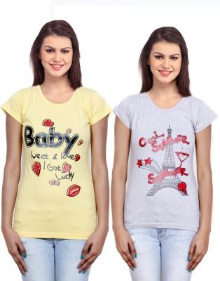 IndiWeaves Casual Short Sleeve Printed Girl's Yellow, Grey Top