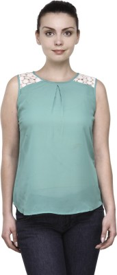 Kami Party Sleeveless Solid Women,s Green Top