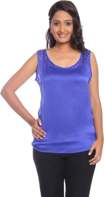 Park Avenue Formal Sleeveless Solid Women's Blue Top