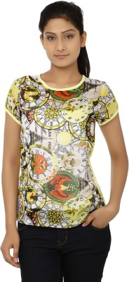 Aussehen Casual Short Sleeve Printed Women's Yellow, White Top