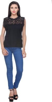 Saffora Fashion Casual Sleeveless Solid Women's Black Top