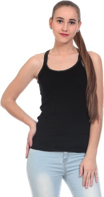 Claude 9 Casual Sleeveless Solid Women's Black Top