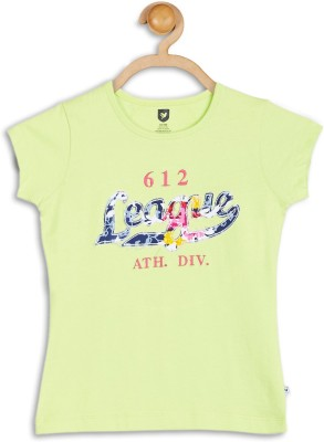 612 League Casual Cap sleeve Applique Girl's Green Top