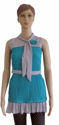 Membooz Casual, Party Short Sleeve Self Design Women's Light Blue Top