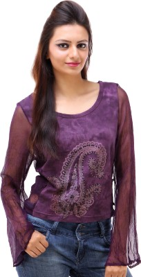 Avon Apparels Casual Full Sleeve Printed Women's Purple Top