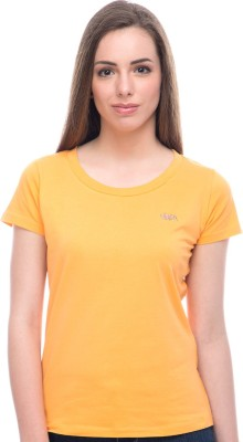 Virsa Casual Short Sleeve Solid Women,s Yellow Top