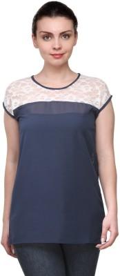 Purplicious Casual, Formal Cape Sleeve Self Design Women's Blue, White Top