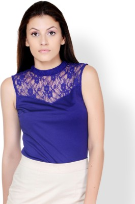 Pera Doce Party Sleeveless Solid Women,s Blue Top