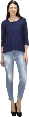 Splendent Casual 3/4 Sleeve Solid Women's Blue Top