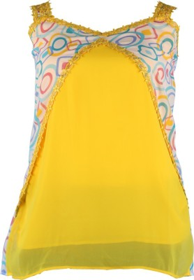 Larjjosa Casual Sleeveless Geometric Print Women's Yellow, Light Blue Top