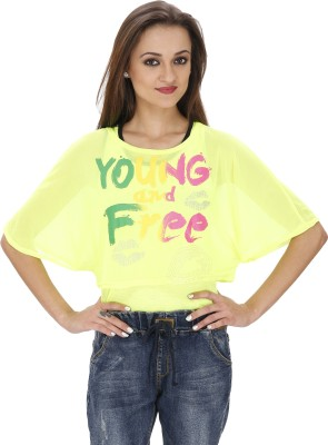 Svt Ada Collections Party Short Sleeve Printed Women's Green Top