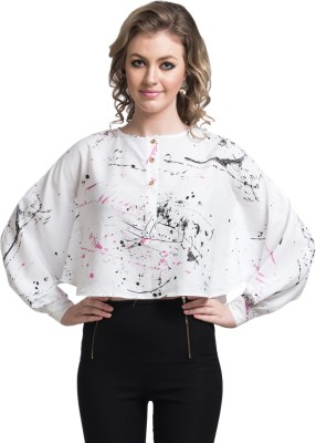 Uptownie Lite Party Full Sleeve Self Design Women's White Top