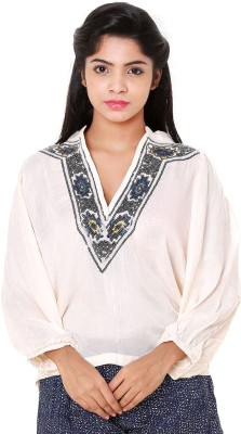 Old Khaki Casual Full Sleeve Printed Women's White Top