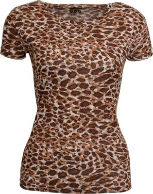 Avenster Casual Short Sleeve Printed Women's Brown Top