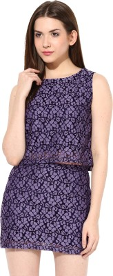 Miss Chase Party Sleeveless Printed Women's Black Top