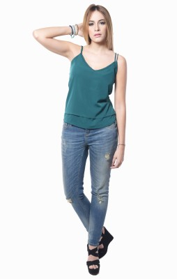 Westhreads Casual Sleeveless Solid Women's Dark Green Top