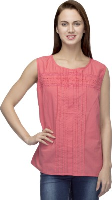 Primo Knot Casual Sleeveless Solid Women's Pink Top
