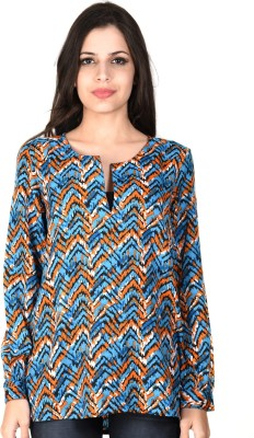 SHIBORI Casual Full Sleeve Geometric Print Women's Blue Top