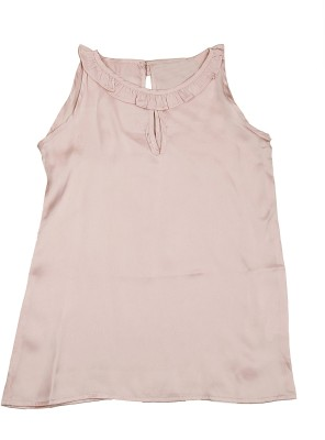 KARYN Casual Sleeveless Solid Girl's Pink Top