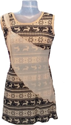 Jhumri Casual Short Sleeve Floral Print Girl's Beige Top