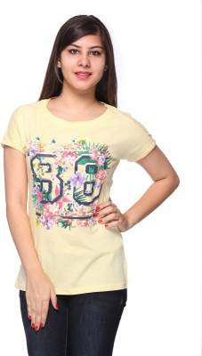 Strawberry Girl Casual Short Sleeve Printed Women,s Yellow Top