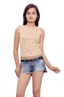 Maya Apparels Party Sleeveless Self Design Women's Brown Top