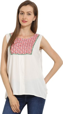 Paprika Casual Sleeveless Printed Women,s Multicolor Top