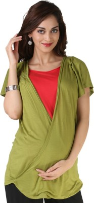 Morph Maternity Casual Short Sleeve Solid Women's Multicolor Top