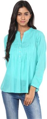 Calgari Casual Full Sleeve Solid Womens Light Green Top