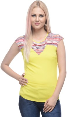 I Know Casual Cape Sleeve Solid Women,s Yellow Top