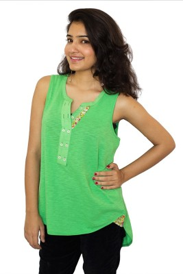 The Clove Casual Sleeveless Solid Women's Green Top