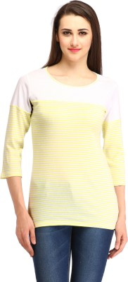 Cottinfab Casual 3/4th Sleeve Striped Women's Yellow Top at flipkart
