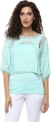 BLUE ISLE Casual 3/4 Sleeve Self Design Women's Green Top