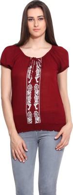 Mystree Casual Short Sleeve Solid Women's Maroon Top
