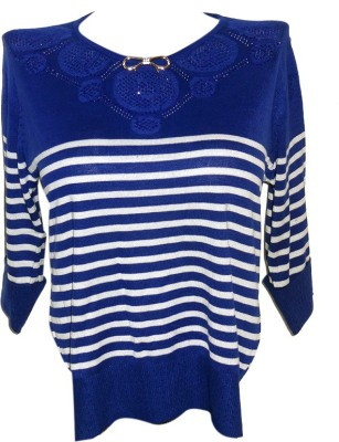 Forever 18 Casual 3/4 Sleeve Solid Women's Blue Top