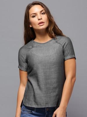 Roadster Casual Short Sleeve Solid Women's Grey Top