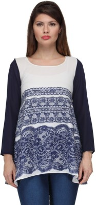 Fashionwalk Casual Full Sleeve Embroidered Women's White, Blue Top