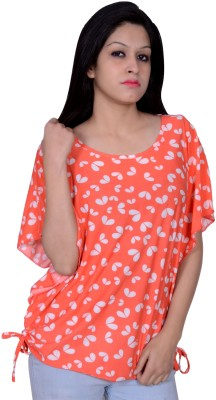 Womaniya by Being Dessi Party Butterfly Sleeve Floral Print Girl's Orange Top