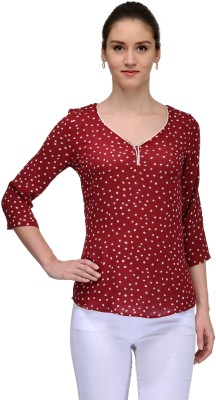 TheGudLook Casual 3/4 Sleeve Printed Women's Maroon Top