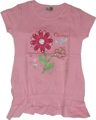 Red Rose Casual, Party, Festive Cap sleeve Applique Girl,s Pink Top