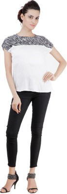 Pret a Porter Casual Cap sleeve Embroidered Women's White Top