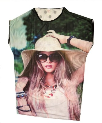Gungun Fashion Casual Cap sleeve Printed Women's Multicolor Top