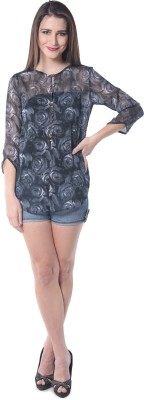 Florrie Fusion Casual 3/4 Sleeve Printed Women's Grey Top