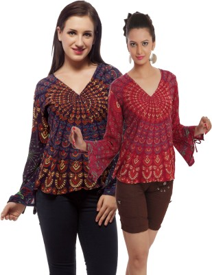Indi Bargain Casual, Party, Formal, Beach Wear Full Sleeve Printed, Floral Print Women's Maroon, Purple Top