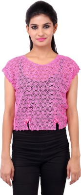 Zachi Casual Sleeveless Self Design Women's Pink Top at flipkart
