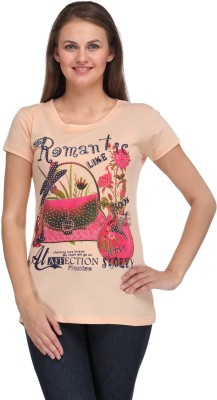 A A Store Casual Short Sleeve Solid, Printed Women's Beige Top