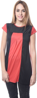 Firemark Casual Short Sleeve Solid Women's Red Top