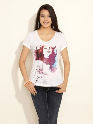 East West Casual Short Sleeve Printed Women,s White Top
