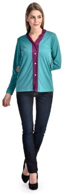 PINK SISLY Casual Full Sleeve Solid Women's Purple, Green Top