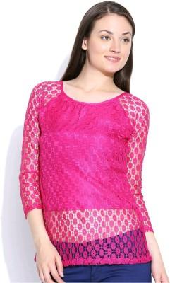 Shopaholic Casual 3/4 Sleeve Self Design Women's Purple Top
